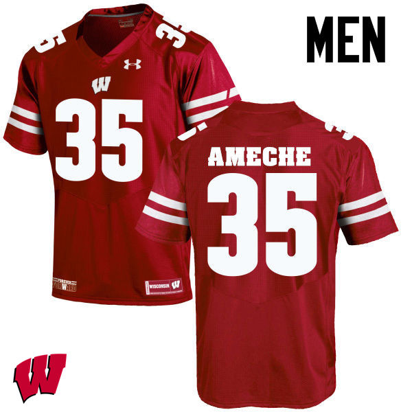 Men Wisconsin Badgers #35 Alan Ameche College Football Jerseys-Red