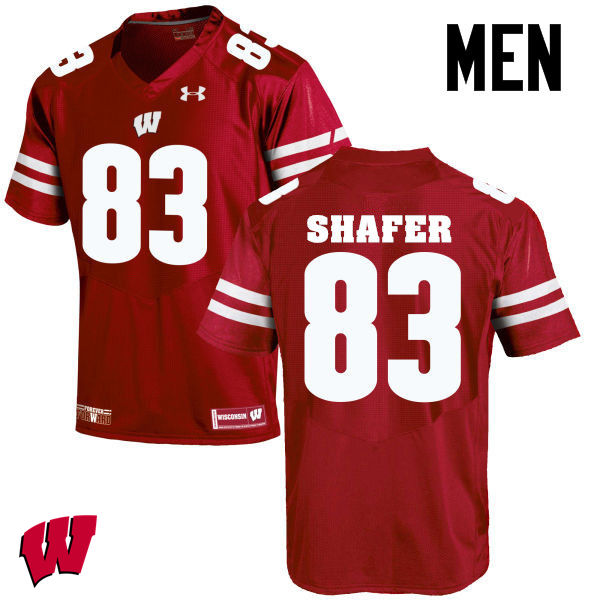 Men Wisconsin Badgers #83 Allan Shafer College Football Jerseys-Red