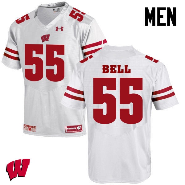 Men Wisconsin Badgers #49 Christian Bell College Football Jerseys-White
