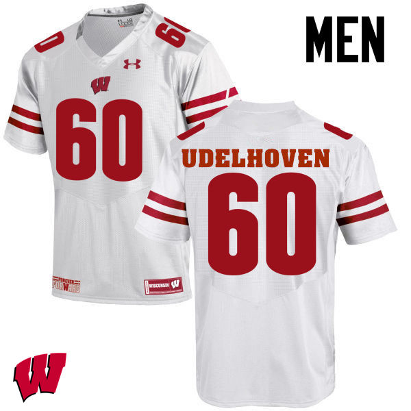 Men Wisconsin Badgers #60 Connor Udelhoven College Football Jerseys-White