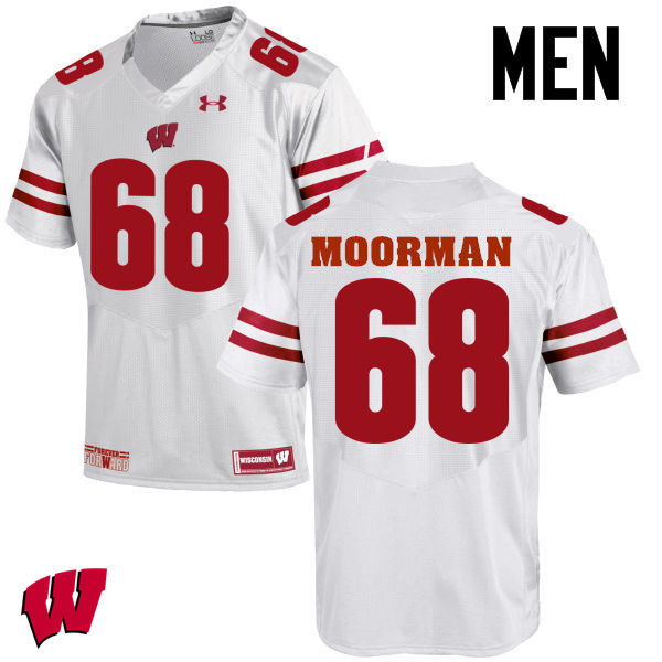 Men Wisconsin Badgers #68 David Moorman College Football Jerseys-White