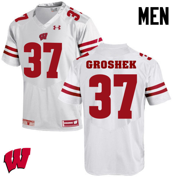 Men Wisconsin Badgers #14 Garrett Groshek College Football Jerseys-White