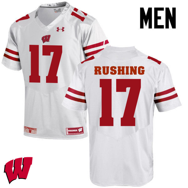 Men Wisconsin Badgers #17 George Rushing College Football Jerseys-White