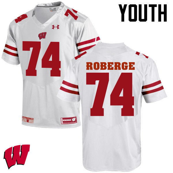 Youth Wisconsin Badgers #74 Gunnar Roberge College Football Jerseys-White