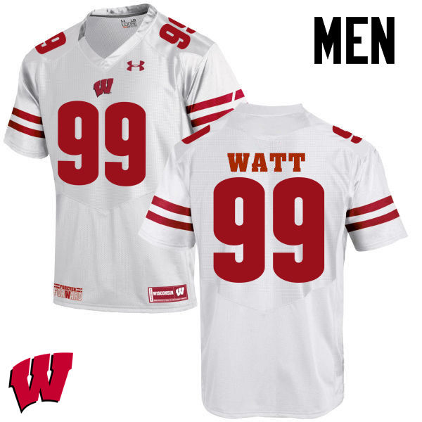 Men Wisconsin Badgers #99 J. J. Watt College Football Jerseys-White