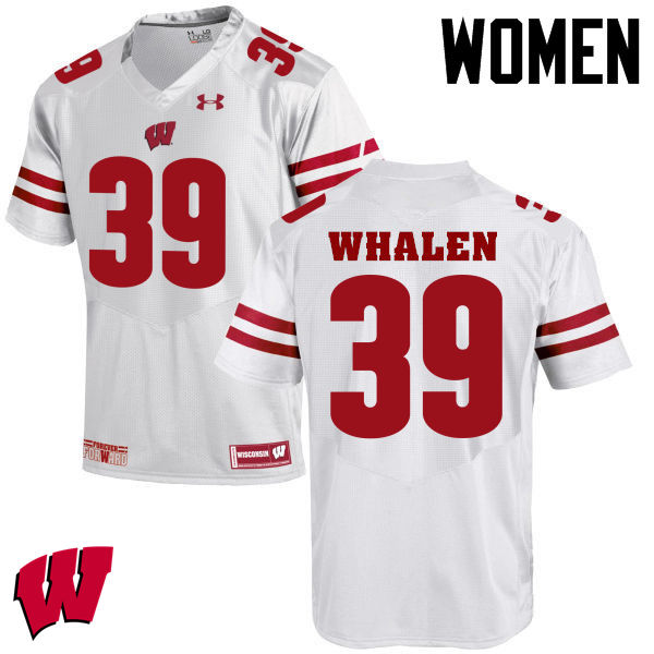 Women Wisconsin Badgers #30 Jake Whalen College Football Jerseys-White