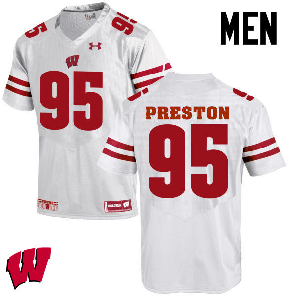 Men Wisconsin Badgers #95 Keldric Preston College Football Jerseys-White