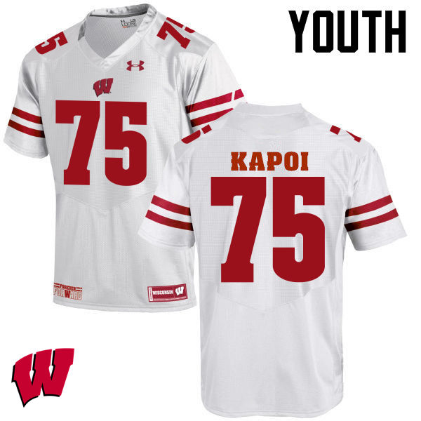 Youth Wisconsin Badgers #75 Micha Kapoi College Football Jerseys-White