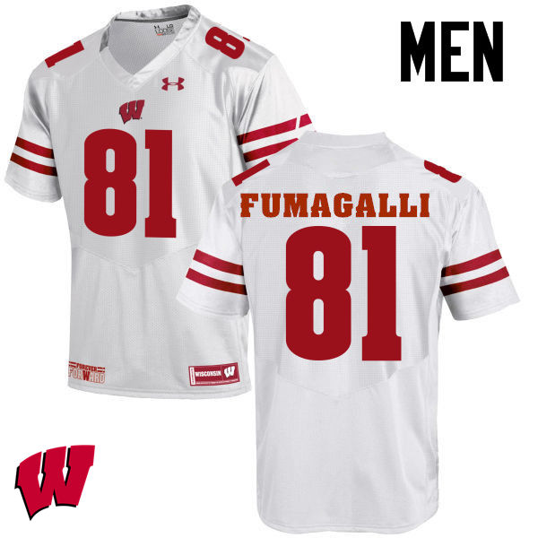 Men Wisconsin Badgers #81 Troy Fumagalli College Football Jerseys-White