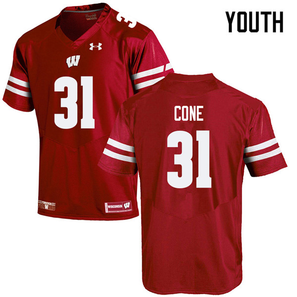 Youth #31 Madison Cone Wisconsin Badgers College Football Jerseys Sale-Red