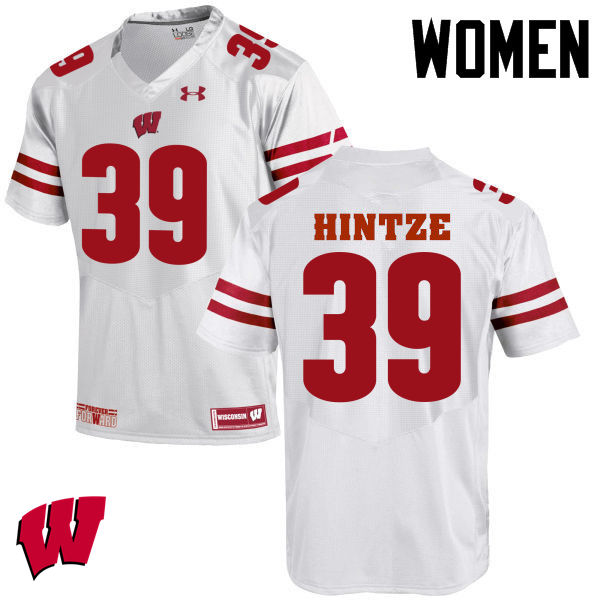 Women Wisconsin Badgers #39 Zach Hintze College Football Jerseys-White